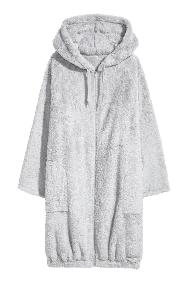 Hooded dressing gown - Light grey - Ladies | H&M GB