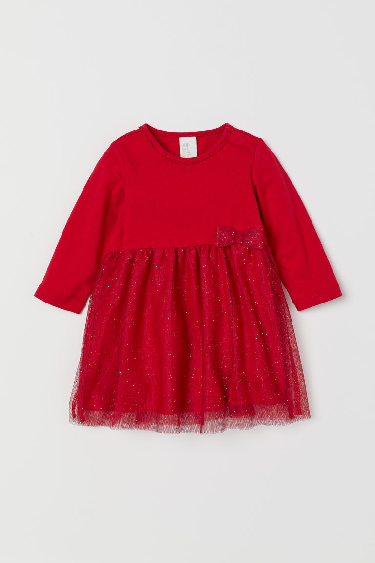 Dress with a tulle skirt - Red - Kids | H&M GB