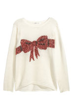Knitted jumper - Natural white/Bow - Kids | H&M CN 2