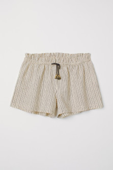 Shorts in misto lino a righe