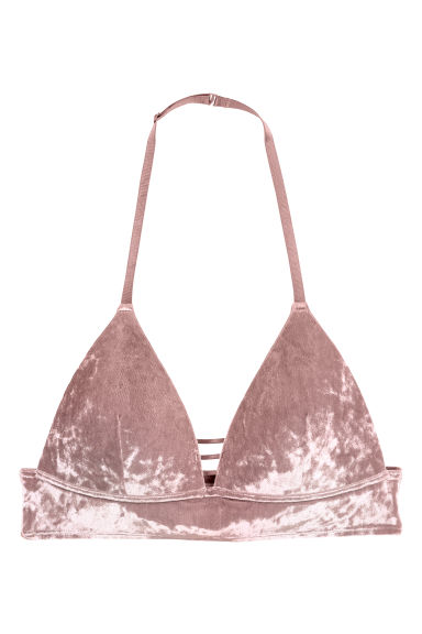 Non-wired velour bra - Mole - Ladies | H&M 1