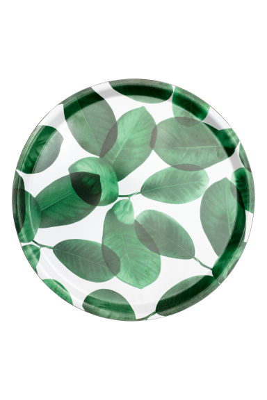 Round tray - White/Leaf - Home All | H&M IE