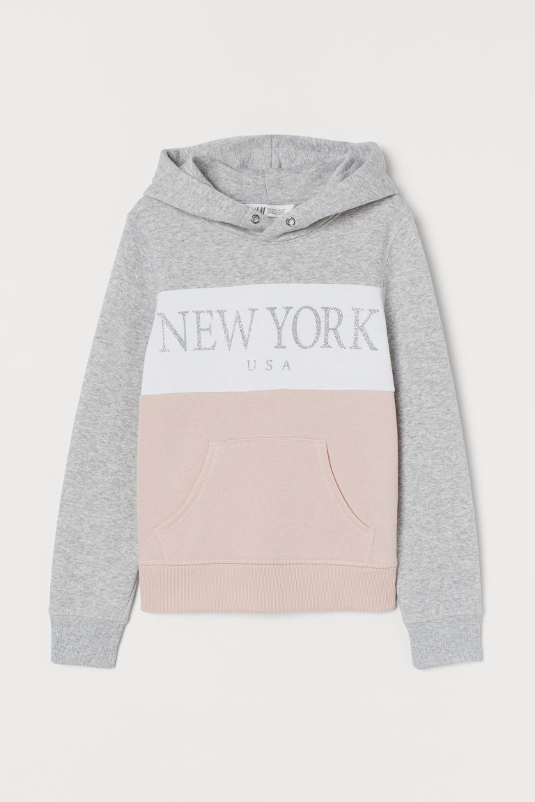 Hooded top with a motif - Light grey marl/New York - Kids   H&M GB