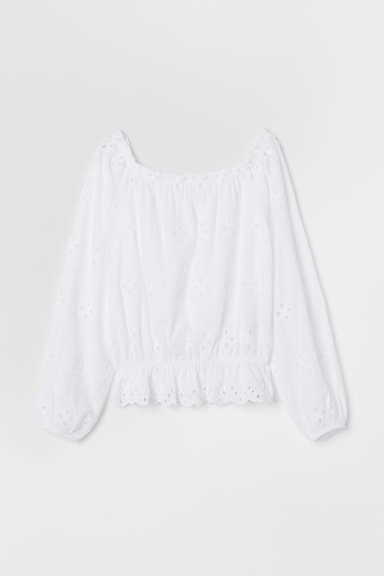 Short off-the-shoulder top - White - Ladies | H&M GB