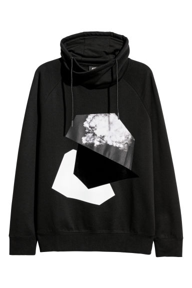 Funnel-collar sweatshirt - Black/Motif - Men | H&M CN