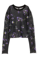 Short mesh top - Black/Floral - Ladies | H&M 1