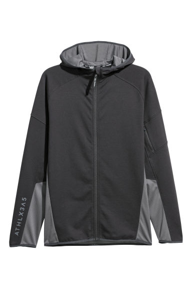 Hooded sports jacket - Black - Men | H&M CN