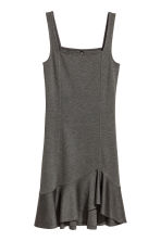 Dress with a flounce - Dark grey marl - Ladies | H&M 1