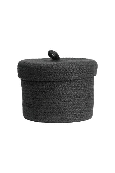 Small braided jute basket - Anthracite grey - Home All | H&M CN