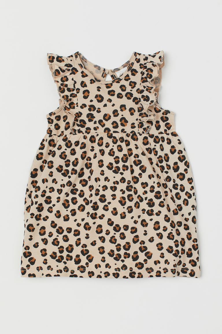 Flounce-trimmed cotton dress - Light beige/Leopard print - Kids   H&M GB