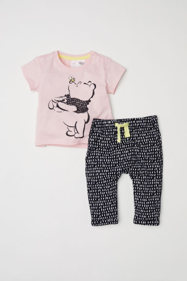 T-shirt et pantalon en coton - Rose poudré/Winnie l'ourson -  | H&M CH