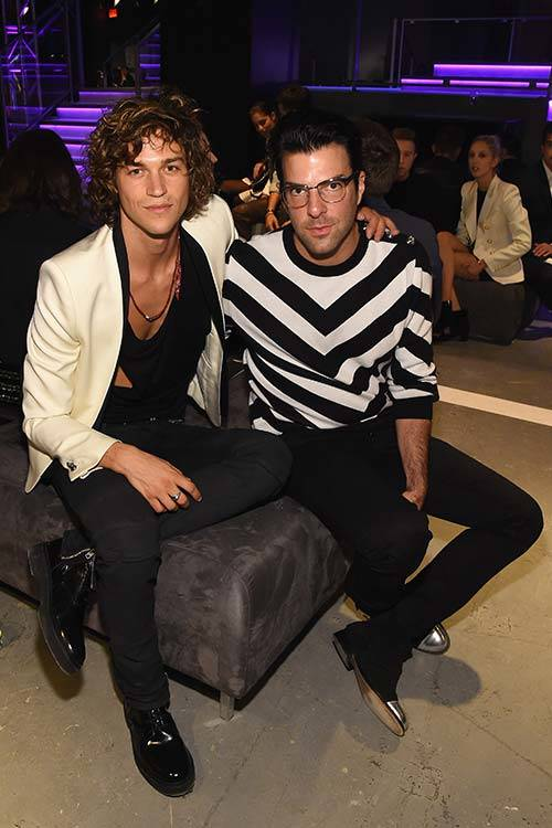 Miles McMillan and Zachary Quinto at the Balmain x H&M fashion show, Getty Images.