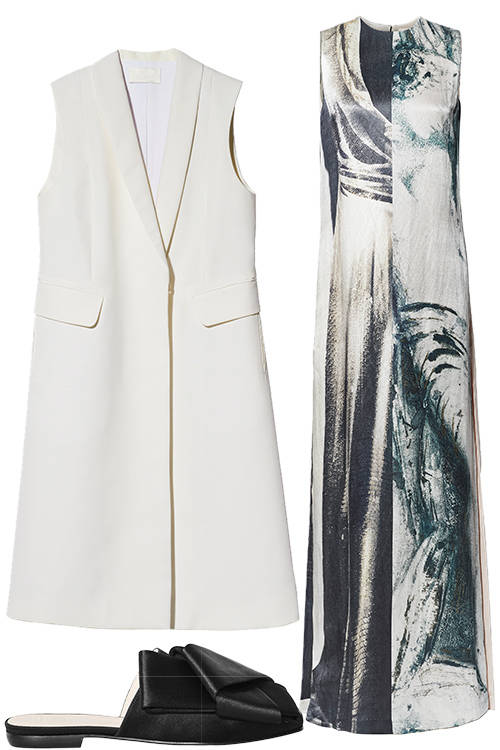 THE KEY ITEMS. The slippers, the sleeveless coat and the trompe-l'oeil dress are H&M Creative Advisor Ann-Sofie Johansson's favourite pieces in the collection.