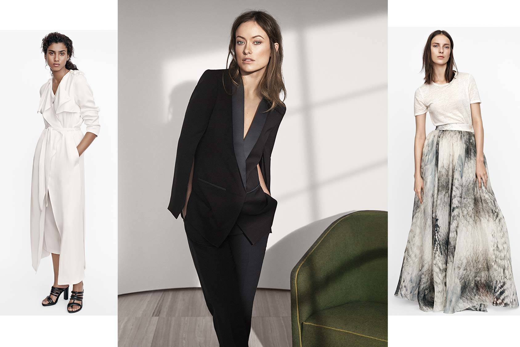 The Conscious Exclusive Collection will be sold in selected stores and online from 16 April. Spokesperson Olivia Wilde (center) models the tuxedo.