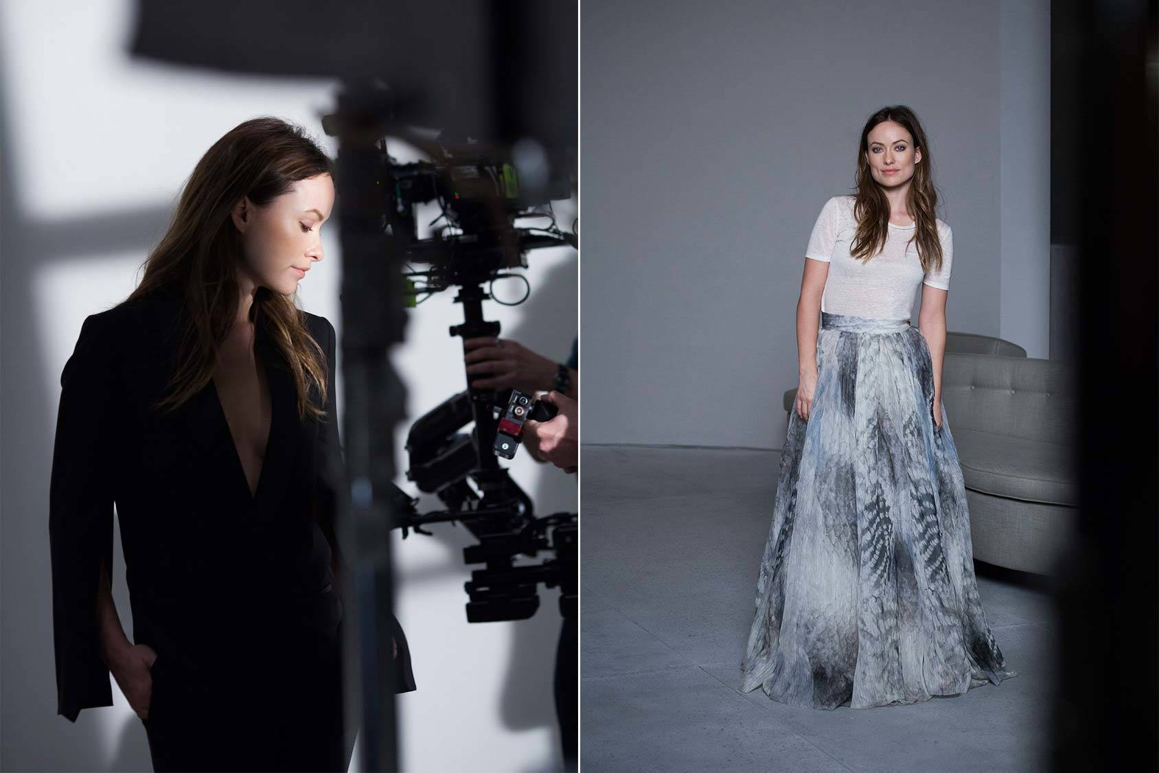 Olivia Wilde backstage for H&M Conscious Exclusive collection.