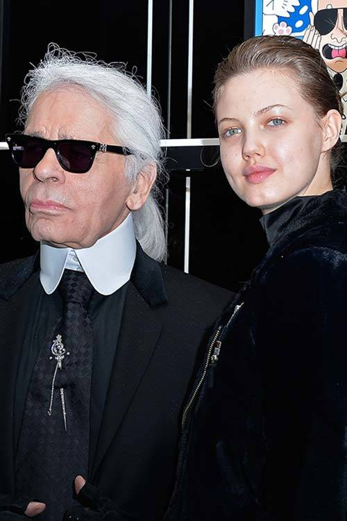 Karl Lagerfeld and Lindsey Wixson, Getty Images.