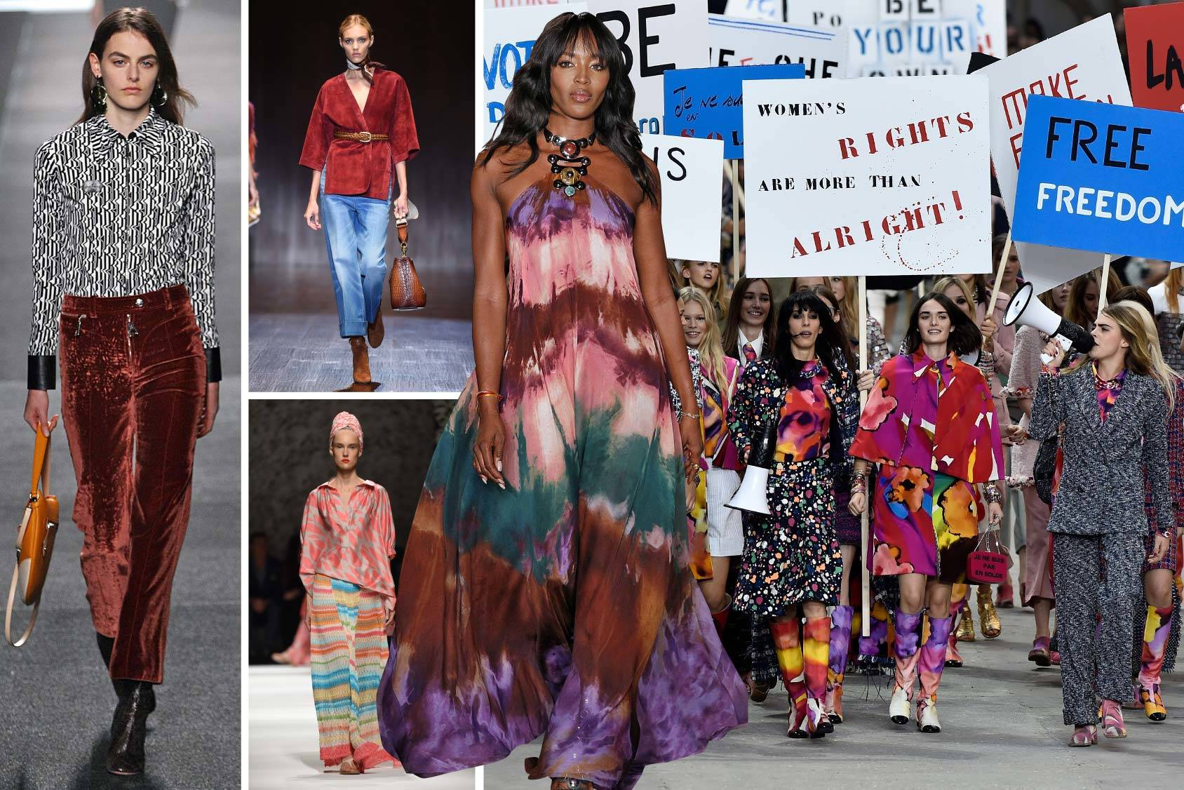 70s inspiration on the runway from Louis Vuitton, Gucci, Missoni, Naomi Campbell at the Emilio Pucci show and Chanel Spring 2015, Getty Images.