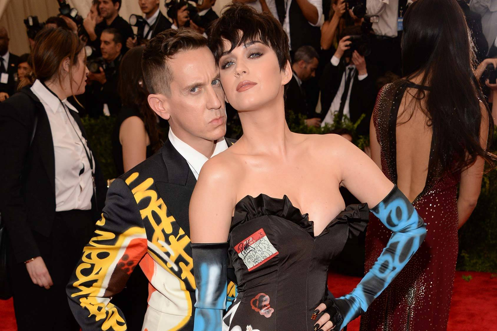 Katy Perry and Jeremy Scott at the Metropolitan Museum of Art's Costume Institute Benefit in Jeremy Scott ́s graffiti print, Getty Images