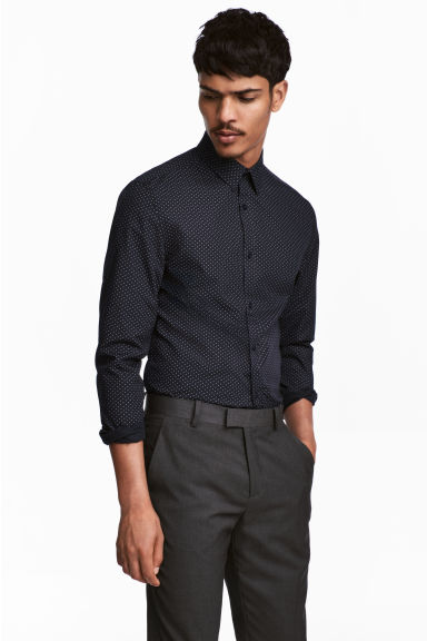 H m black dress shirt european