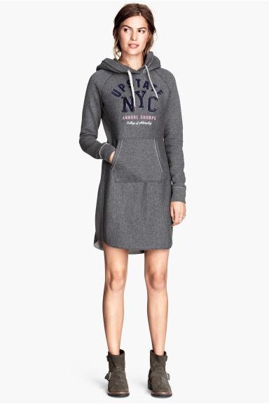 robe capuche gris fonc chin femme h m fr. Black Bedroom Furniture Sets. Home Design Ideas