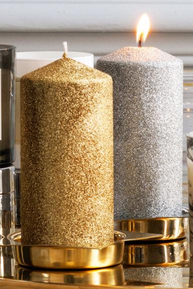 grande bougie pilier argent home all h m fr. Black Bedroom Furniture Sets. Home Design Ideas