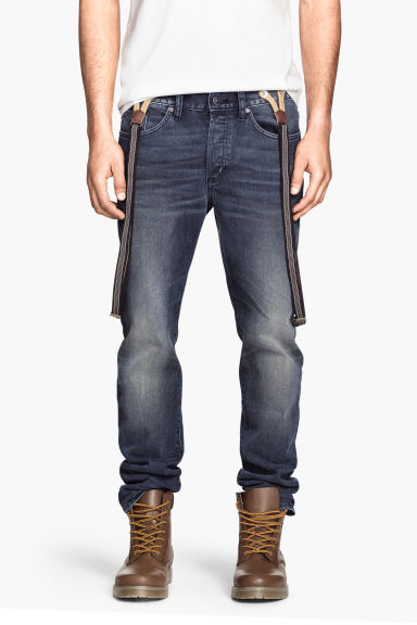 jeans con bretelle blu denim scuro uomo h m it. Black Bedroom Furniture Sets. Home Design Ideas
