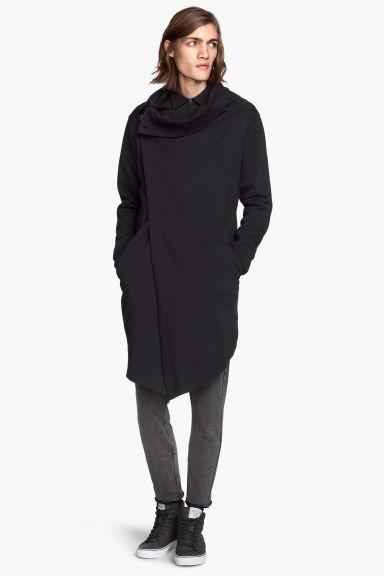long gilet en molleton noir homme h m fr. Black Bedroom Furniture Sets. Home Design Ideas