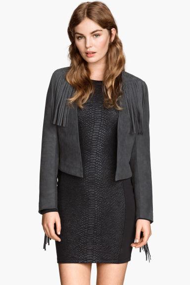 veste franges gris fonc femme h m fr. Black Bedroom Furniture Sets. Home Design Ideas