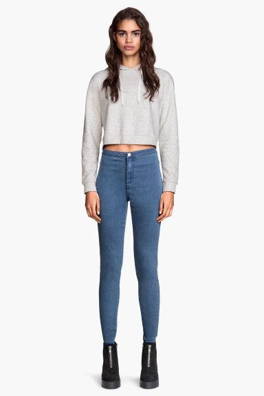 pantalon stretch taille haute bleu denim h m fr. Black Bedroom Furniture Sets. Home Design Ideas