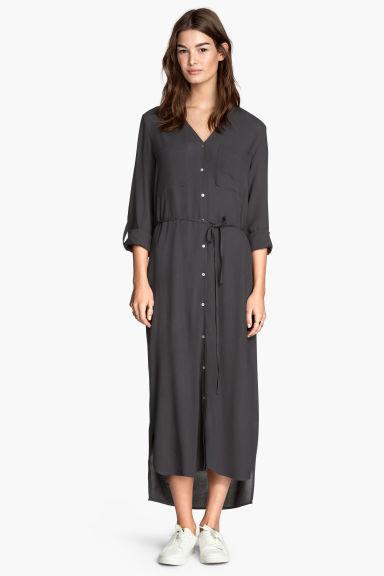 Robe chemise longue gris fonce femme hm fr for Robe chemise longue femme