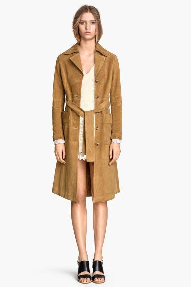 manteau en daim beige femme h m fr. Black Bedroom Furniture Sets. Home Design Ideas
