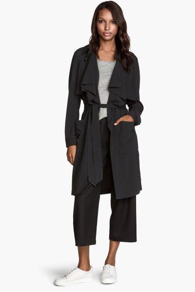 trench coat noir femme h m fr. Black Bedroom Furniture Sets. Home Design Ideas