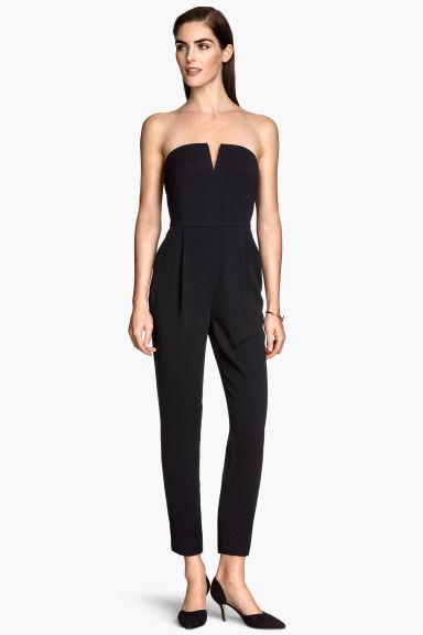 combi pantalon sans bretelles noir femme h m fr. Black Bedroom Furniture Sets. Home Design Ideas