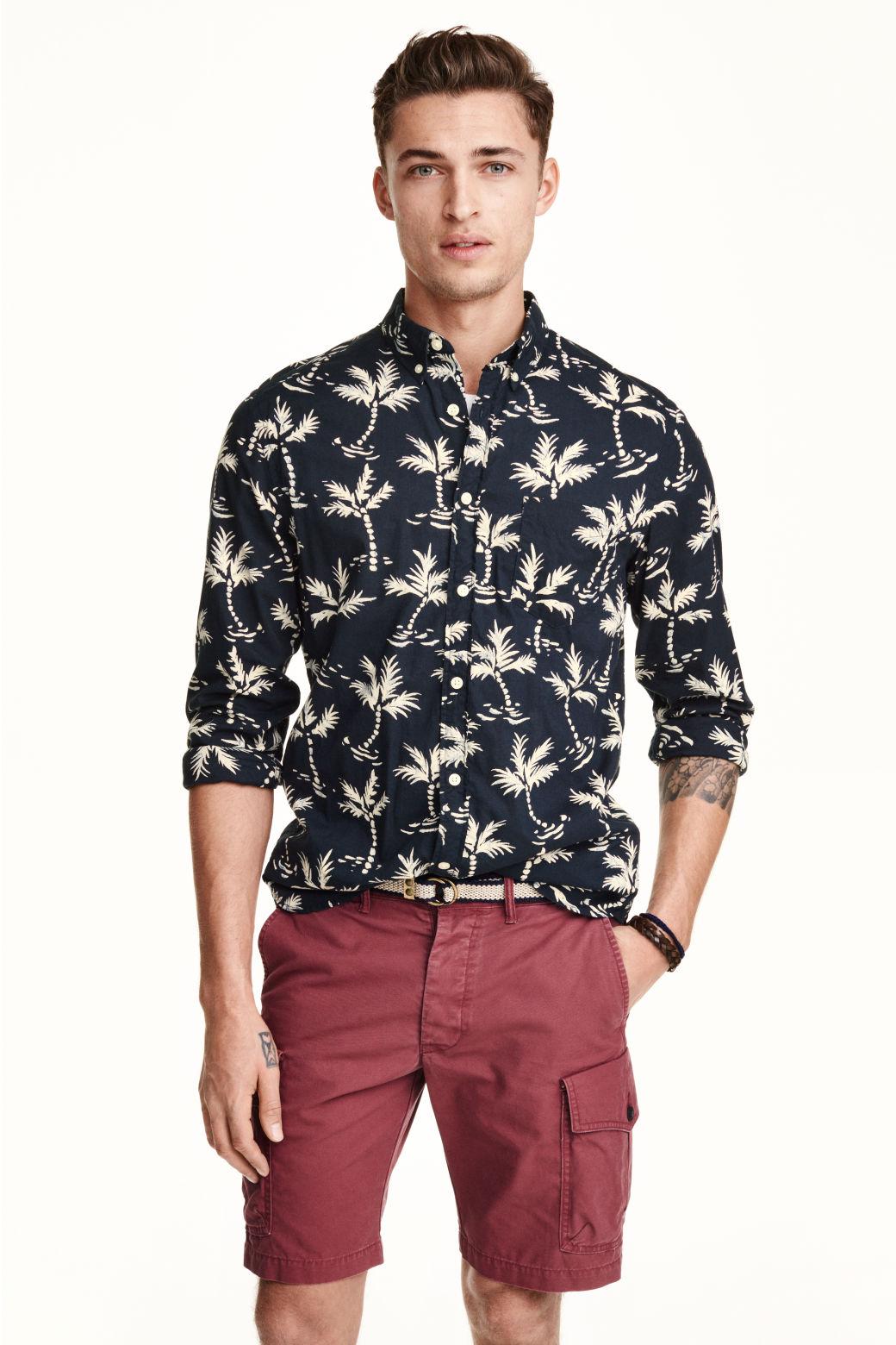 Camisa en algod n estampado for Lo ultimo en moda para hombres