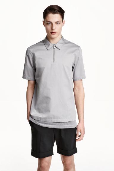 Cotton satin polo shirt grey men h m gb for H m polo shirt mens