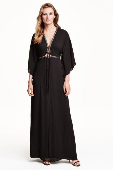 robe kimono noir femme h m fr. Black Bedroom Furniture Sets. Home Design Ideas