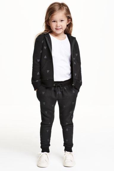 pantalon en molleton noir c urs enfant h m fr. Black Bedroom Furniture Sets. Home Design Ideas