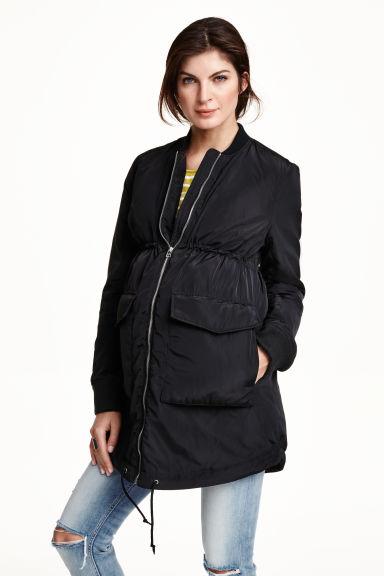 mama veste bomber longue noir femme h m fr. Black Bedroom Furniture Sets. Home Design Ideas