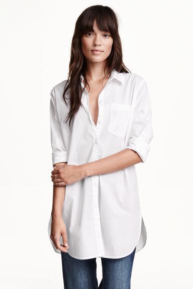 chemise longue en coton blanc femme h m fr. Black Bedroom Furniture Sets. Home Design Ideas