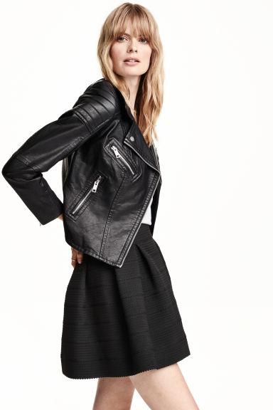 veste de style motard noir femme h m fr. Black Bedroom Furniture Sets. Home Design Ideas