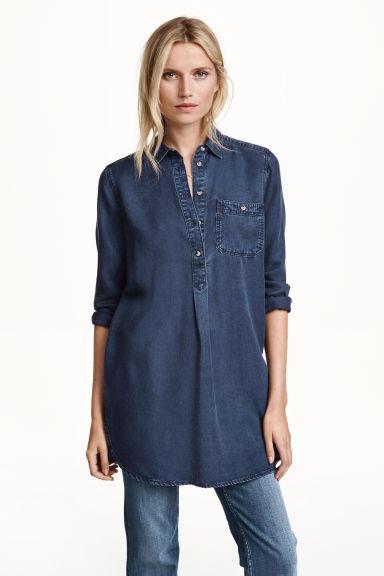 tunique en jean de lyocell bleu denim fonc femme h m fr. Black Bedroom Furniture Sets. Home Design Ideas
