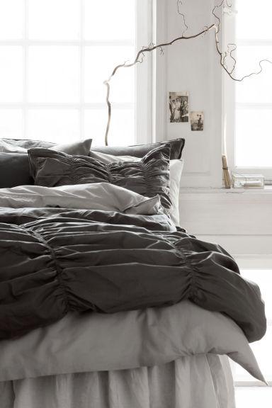 parure de couette gris fonc home all h m fr. Black Bedroom Furniture Sets. Home Design Ideas