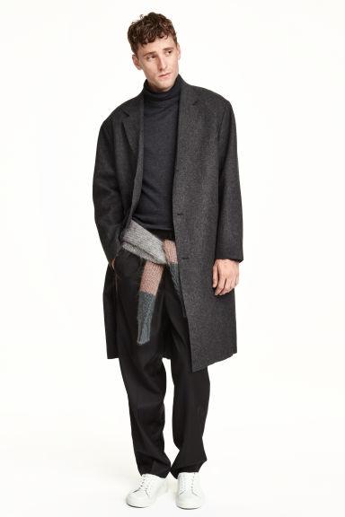 manteau en laine m lang e gris fonc homme h m fr. Black Bedroom Furniture Sets. Home Design Ideas