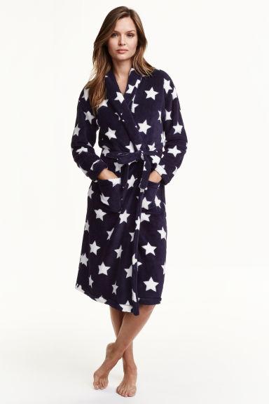 robe de chambre en polaire bleu fonc toiles femme. Black Bedroom Furniture Sets. Home Design Ideas