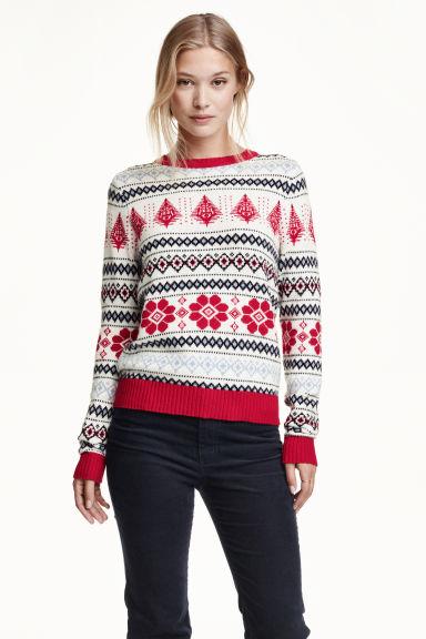 pullover in maglia jacquard rosso fantasia donna h m it. Black Bedroom Furniture Sets. Home Design Ideas