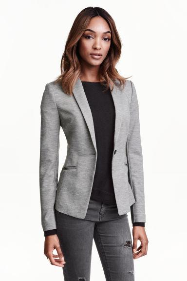 blazer en jersey gris femme h m fr. Black Bedroom Furniture Sets. Home Design Ideas