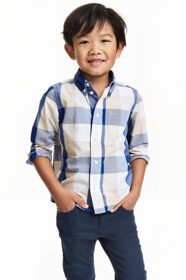 chemise en coton carreaux bleu enfant h m fr. Black Bedroom Furniture Sets. Home Design Ideas