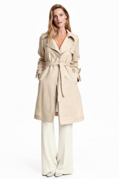 trench coat en lin beige clair femme h m be. Black Bedroom Furniture Sets. Home Design Ideas