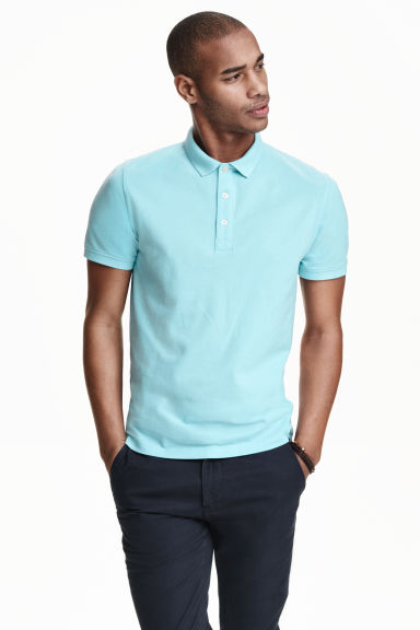 Polo shirt light blue men h m ie for H m polo shirt mens
