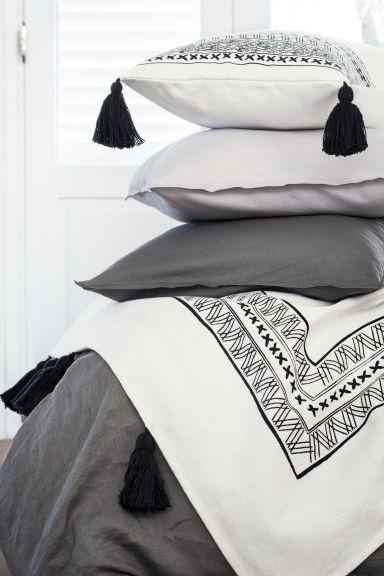 Funda n rdica en lino lavado gris oscuro h m es for Fundas nordicas h m